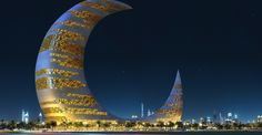 The Crescent Moon Tower is the architectural design project submitted to the 11th ThyssenKrup Elevator Architecture Award by the California-based firm Transparence House.  In response to the challenge to design a tall emblem structure for Za'abeel Park, one that should signify the modern face of Dubai, Transparence House chose a larger than life crescent shape that has a two-fold statement.  First it boldly identifies Dubai as part of the Islamic world, and second, because of the technical diffi