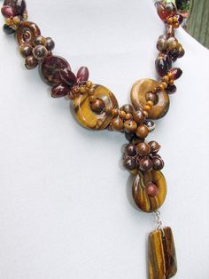 Tiger Eye wire wrapped and handwoven beaded by ToBeUniqueJewelrys, $74.99