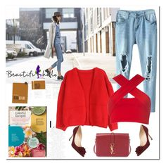 """""""Light Blue Open Knees Double Pocket Jeans"""" by ilona-828 ❤ liked on Polyvore featuring Yves Saint Laurent, Manolo Blahnik, Motel, bhalo and bhalo3"""