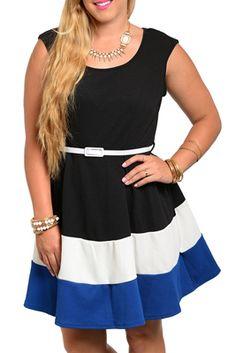 Plus Size Trendy Color Blocked Cap Sleeve Date Dress with Belt