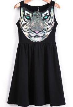 Shop Black Sleeveless Tiger Print Ruffle Dress online. Sheinside offers Black Sleeveless Tiger Print Ruffle Dress & more to fit your fashionable needs. Free Shipping Worldwide!