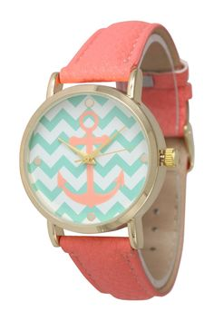 Mint + Coral Anchor Watch