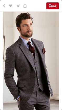 Tweet suit, plum accessories