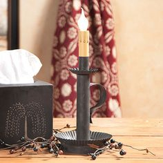 Classic Colonial Candlestick Accent Light in Blackened Tin