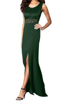 Ivydressing Women's Long Splitted Jewel Neck Prom dress-26W-Dark Green. Split front design. Jewel neckline. Back zipper closure. Suit for prom party, weddings and formal occadions. All products are subject to material objects because the shooting light and setting of your computer screen may cause slight color mismatches.