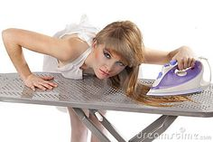 Ironing hair on the ironing board... I did this even though I had straight hair!...