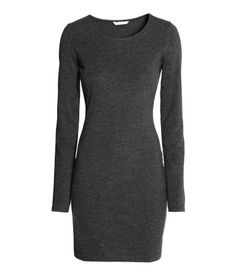 short jersey dress Dark gray melange. Short, fitted dress in soft jersey with long sleeves.