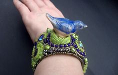 "Bead Embroidery Cuff   ""blue Bird""  Bracelet. $200,00, via Etsy."