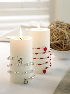 Super cute candle embellishment.  Easily change out for the seasons without having to buy more candles-- yes!!