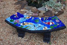 Stained Glass Mosaic Garden Bench is part of Mosaic garden Bench - mosaic art by Kathy Prescott Parker, Koi pond design Mosaic Garden Art, Mosaic Diy, Mosaic Crafts, Mosaic Projects, Stained Glass Projects, Mosaic Tiles, Mosaic Pots, Fish Garden, Tile Art