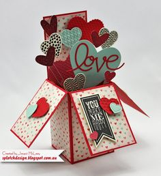 Splotch Design - Jacquii McLeay Independent Stampin' Up! Demonstrator: Card box full of hearts. Pop Up Box Cards, 3d Cards, Love Cards, Folded Cards, Stampin Up Cards, Exploding Box Card, Valentine Day Cards, Valentine Heart, Homemade Cards