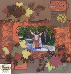 Chattering Robins scrapbook layout with a fall or forest theme