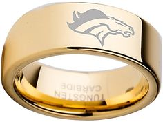 Denver Broncos Ring, Gold tungsten ring available in sizes 6 - 13 Customize with a special name, date or message on the inside of the band.