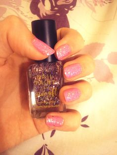 pink Barry M glitter nails