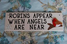 Custom Robins appear when Angels are near sign plaque. Any colours, can be personalised. Robin plaque sign Angel plaque memorial in memory by FairylandDecor on Etsy Wooden Plaques, Wooden Signs, Trending On Pinterest, Fairy Land, Craft Business, Robins, Note To Self, Hobbies And Crafts, Metal Stamping