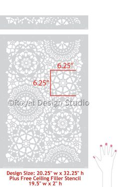 The Parlor Lace allover wall stencil is a perfect addition to our Lace Stencil Collection. A soft and romantic allover lace stencil that is perfect for stenciling a feature wall or a whole room with a