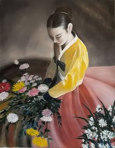 A lady in a traditional Korean costume – Vin Jung New Zealand Landscape, Oil Paintings, Korean, Costumes, Traditional, Portrait, Canvas, Lady, Tela