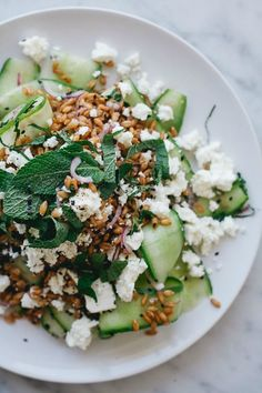 Sarah's Cucumber Spelt Salad from renéekemps.com on foodiecrush.com
