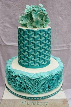 Aqua Wedding Cake