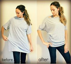 Upcycled men's t-shirt!  This is so easy to do!  Make sure you don't get a size too big for your frame,  when you cut the neck if the shirt is too big it won't hang right.  Gathering at the bottom is simple this link has a video.  Also make sure you line up the seams on the sleeves Trash To Couture, Diy Clothing, Sewing Clothes, Clothes Refashion, Men Clothes, Sewing Men, T Shirt Refashion, Refashioned Tshirt, Upcycling Clothing