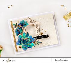 Jewel toned watercolour Peony Bouquet card. The gorgeous ornate frame is from the newly released New Day Card Kit. www.altenew.com