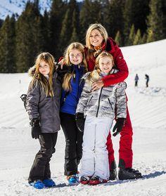 Queen Maxima and daughters in Lech 2016. Alexia, Amalia en Ariane.