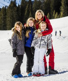 Queen Maxima and daughters in Lech 2016. Alexia, Amalia en Ariane.