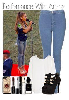 Perfomance With Ariana by amanda-432 on Polyvore featuring polyvore fashion style MANGO Topshop Samsung Christian Dior Smashbox Clarins Giorgio Armani GE