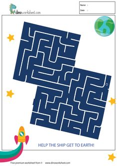 Educational Maze Game Preschool School Help The Ship Get To Earth