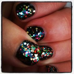 """Last nights """"birthday flare"""" nails--solid black base coat with double topcoat of Milani Gems"""