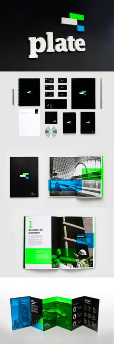 Boxes of bright colors against a b&w photos. corporate identity