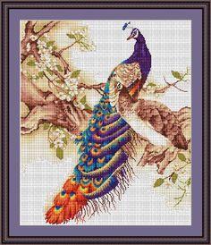 Free Counted Cross Stitch Patterns | ArtGoblen Counted Cross Stitch Kit - Peacock 1 - ArtGoblen Challenging ...