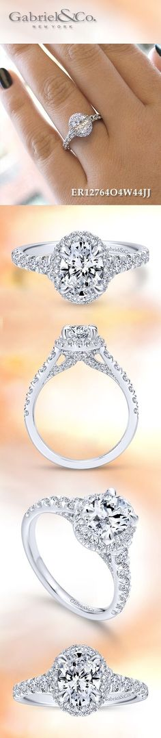 Gabriel & Co. - Voted #1 Most Preferred Bridal Brand. 14k White Gold Oval Cut Halo Engagement Ring.