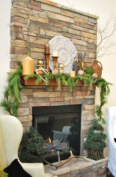Mantel  Decorations : IDEAS &  INSPIRATIONS : Rustic Stone Christmas Mantel