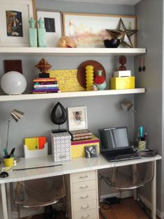 I like this idea for a desk space if we have room... There is this table I want from ikea that's really long, we could do the filing cabinet to designate two sides... If there is space?