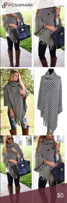 😍 Soft Striped Poncho - one size I am keeping one for myself- these are so cute. Because they are one size and classic, I like these as Christmas gifts. My mother and sister in laws are getting one. 👌 Tops