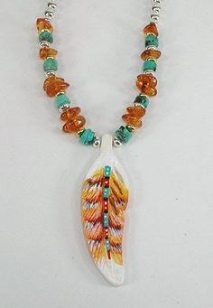 Authentic Native American Bone Hawk Feather Treasure Necklace by Apache Cynthia Whitehawk