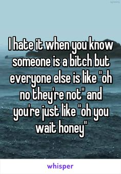 """I hate it when you know someone is a bitch but everyone else is like """"oh no they're not"""" and you're just like """"oh you wait honey"""""""