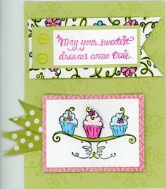 DIY cute Happy Birthday cupcake trio card by Great Impressions Rubber Stamps. http://www.greatimpressionsstamps.com/mar13card4.html
