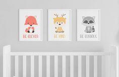 Animal Prints | Woodland Animals | Nursery Art | Clever Kind Curious | Set of 3 Prints | Woodland Nursery | Fox Nursery | Forest Animals by GoodnightFoxStudio on Etsy https://www.etsy.com/listing/538974981/animal-prints-woodland-animals-nursery