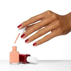buttoned+up+by+essie - connect+the+dots+where+punchy+coral+and+bold+bordeaux+meet+in+the+middle+in+this+two-toned+nail+design.