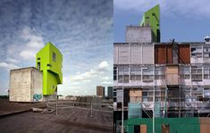 Visible from the waterfront, Las Palmas Parasite, by Korteknie Stuhlmacher Architecten, hangs like a glowing tree house on the top of an abandoned warehouse.