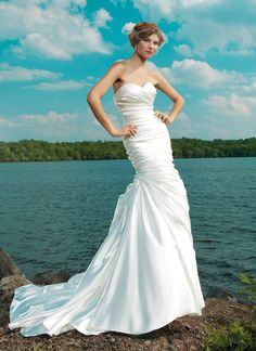 Sincerity wedding dress style 3666 Strapless sweetheart ruched asymmetrical shimmer charmeuse mermaid with pleated skirt with buttons down back zipper chapel train