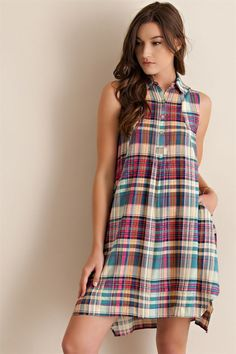 Plaid Button Down Sleeveless Shift Dress