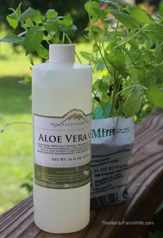 Aloe Lotion:     1/2 ounce (1 Tablespoon) aloe vera     1 ounce (2 Tablespoons) shea butter     2 ounces (1/4 cup) of sunflower oil     1/2 tablespoon beeswax     peppermint essential oil