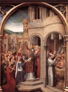 The arrival of St. Ursula and her companions in Rome to meet Pope Cyriacus, from the Reliquary of St. Ursula via Hans Memling