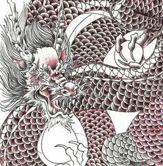 Japanese dragon sketch  Black/red ballpen