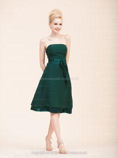A-line Strapless Chiffon Knee-length Darkgreen Emboridery Evening Dress