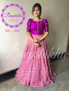 DC 391 For queries kindly whatsapp: 9059683293 Half Saree Designs, Blouse Designs Silk, Lehenga Designs, Dress Designs, Long Gown Dress, Lehnga Dress, Long Frock, Lehenga Gown, Long Gowns