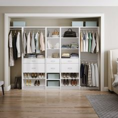 A reach-in closet that's functional and pretty? Sign us up!  #ClosetGoals #ReachInCloset #HomeOrganization #BedroomCloset #ClosetMaid Bedroom Built In Wardrobe, Bedroom Built Ins, Closet Bedroom, Closet Storage Systems, Wardrobe Storage, Storage Solutions, Small Dressing Rooms, Tiny House Bedroom, Closet Vanity